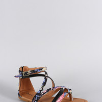 Qupid Floral Strappy Thong Flat Sandal