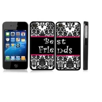 Friendship Best Friend Damask WHITE Snap-On Hard Cover Carrying Case Set for iPhone 4/4S - Set of 2 Cases
