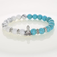 New Lucky Buddha Bracelets Turquoise With Crystal Spacer Beads For Religious Men Women Jewelry NB08