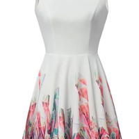 White V-Back Sleeveless Floral Pleated Skater Dress