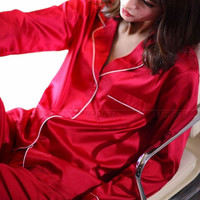 Womens  Silk  Satin Pajamas Set  Pajama Pyjamas  Set  Sleepwear Loungewear  XS  S  M  L  XL