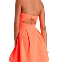 Neon Bow-Back Strapless Skater Dress by Charlotte Russe - Neon Coral