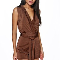 Lois Draped Belted Playsuit