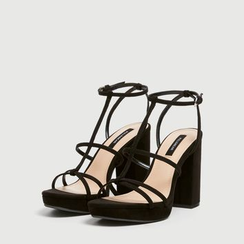 Women's heeled strappy sandals - pull&bear