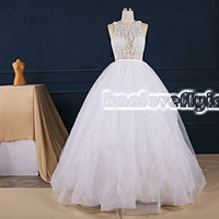 Elegant white floor length see-through wedding dresses gowns,puffy white a-line backless ball gowns beaded top,white bridal gowns,sexy gowns