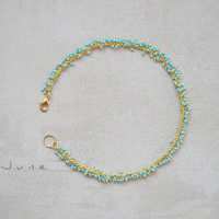 June Anklet-Turquoise semi precious gemstone anklet-Ankle chain-Ankle bracelet.
