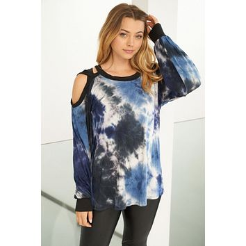 Influencer Status Blue Tie Dye Cut Out Top
