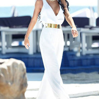 White V-neck Cutout Sleeveless Jumpsuit