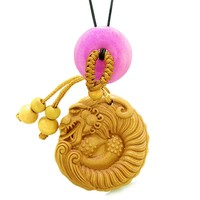 Magical Courage Dragon Car Charm Home Decor Hot Pink Quartz Donut Protection Good Luck Amulet