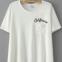 White Short Sleeve California Graphic Print T-Shirt