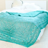 Elephant Green & Gold  Quilt
