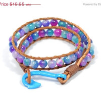 Mothers Day Sale blue beaded bracelet * wrap leather bracelet * colorful bracelet * fish hook bracelet * gifts for mom * beaded jewelry * su
