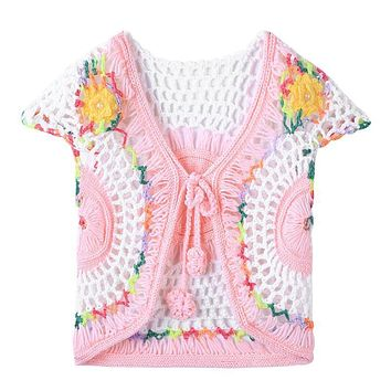 Children Clothing Handmade Baby Girls Crochet Knitted Cardigan Kids Spring Autumn Waistcoat Vest Girl's Clothes