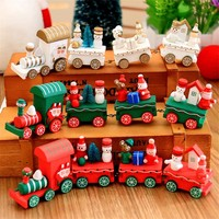 4Pcs/Set Christmas Decorations For Home Xmas Wooden Little Train Christmas Gift Toy For Children Christmas Decorations Navidad