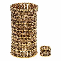Bronze Crystal Multilayer Stretch Cuff Bracelet Ring Sets