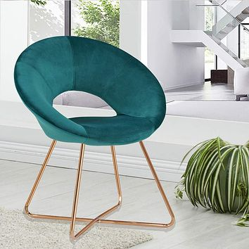 Duhome Modern Velvet Accent Chairs Upholstered Vanity Chairs Make-up Stool Home Office Guest Reception Chair Arm Leisure Chairs Dining Chair with Golden Legs Mid-Back for Living Room 1 pcs Atrovirens Atrovirens Velvet