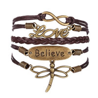 Love Dragonfly Multilayer Knit Leather Rope Chain Charm Bracelet DIY Gift (Color: Brown) = 1958051908
