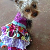 Fancy Monogrammed dog dress • pet clothing With Velcro Closure • Teacup size, XS and Small