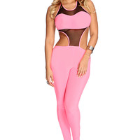 Neon Pink Sleeveless Sexy Jumper Outfit