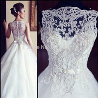 Gorgeous Beaded Lace Vintage Wedding Dresses 2015 Hot Selling Sheer See Through Sleevelesss A Line Plus Size Sexy Bridal Gowns