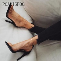 POADISFOO Women Heeled Sandals Bandage Rhinestone Ankle Strap Pumps Super High Heels 10.5 CM Square Heels Lady Shoes  .ZL-300-3