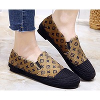LV fashion casual straw shoes for lazy people