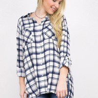 Plaid high-low button-down shirt