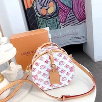 LV Multi-Print Women's Round Pie Bag Shoulder Bag Crossbody Bag