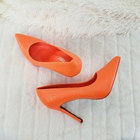 "Scaled Bright Neon Orange Snake 4.5"" High Heel Stiletto Shoes Pointy Toe Pumps"
