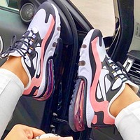 Nike AIR MAX 270 cushioning sports casual running shoes Pink&Black white