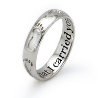 Sterling Silver Footprint Ring - Size 7