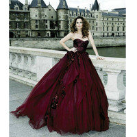 Burgundy Ball Gown Prom Dresses pst0316