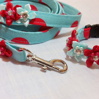 Retro Red and Turquoise Polkadot Collar and Leash set