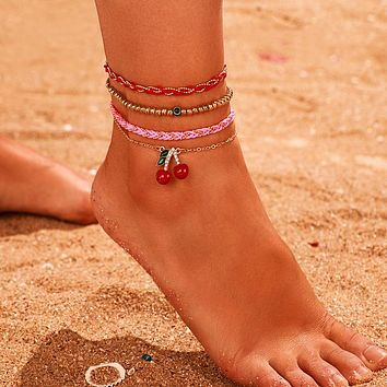 Gold Bead Foot Chain Lovely Cherry Colorful Rope Barefoot sandals Anklets for Women Jewelry Gift