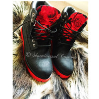 Custom Red Rose Timberlands