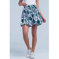 Blue Mini Skorts With Floral Print