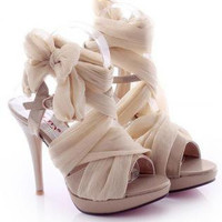 High-heeled lace fashion sandals