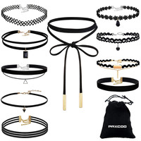 10 PCS Black Velvet Choker Trendy Necklace Set  with Drawstring Strorage Bag