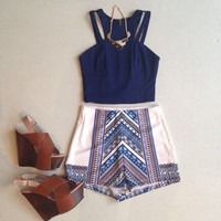 Two Pieces Womens Sleeveless Chiffon Shirt Blouse+Shorts = 5617092097