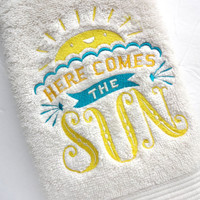 Bathroom towels, bath towels, embroidered bath towels, hand towel, custom towel, august ave, here comes sun, sunny yellow, bathroom towel