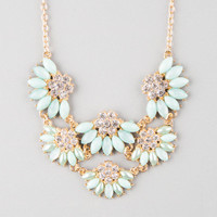 Full Tilt Scalloped Flower Statement Necklace Mint One Size For Women 25142352301