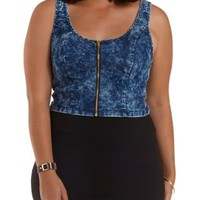 Plus Size Acid Wash Zip-Up Chambray Crop Top
