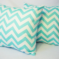 BOGO Sale - 2 Chevron Decorative Pillow Covers Teal and White - 20 x 20 inches Throw Pillow Cushion Cover Accent Pillow