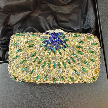Flower Purses for women Luxury Rhinestone Crystal Evening Bridal Clutch Bags