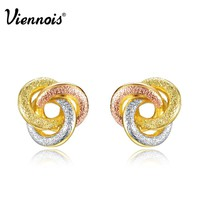 Viennois Fashion Jewelry Gold & Silver & Rose Gold Color Knot Stud Earrings for Woman Triple Color Small Earrings