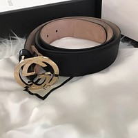 Gucci Leather Belt With Interlocking G Buckle