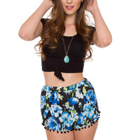 Virginia Pom Pom Shorts - Blue