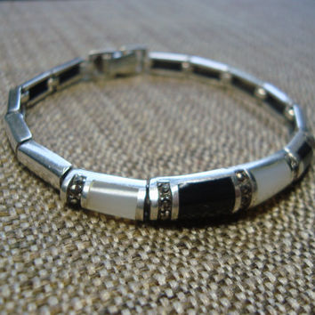 sterling silver black onyx,marcasite and mother of pearl bracelet