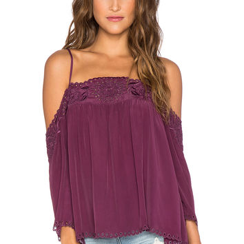 Love Sam Embroidered Cut Out Top in Merlot