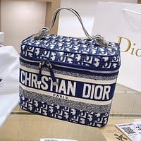 Dior AAA new ladies denim embroidered letter cosmetic bag handbag